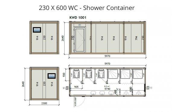 КВ2 230x600 wc- Туш контејнер